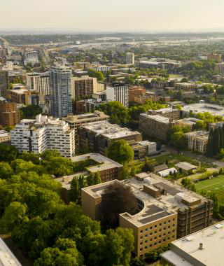 Aerial view of Portland State and Portland.